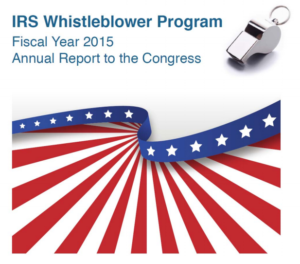 The cover image of the IRS Whistleblower Report for FY2015.