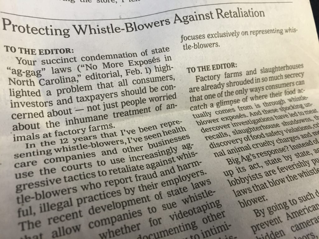 Letter to the Editor in the New York times